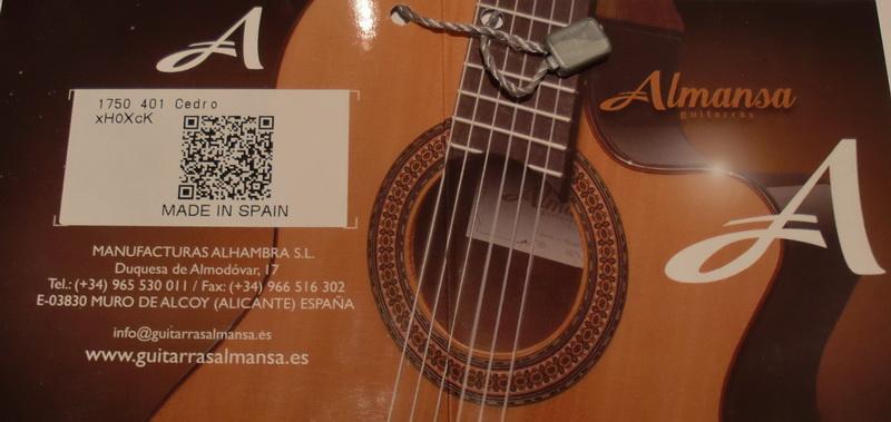 Новый паспорт гитар Almansa Альманса